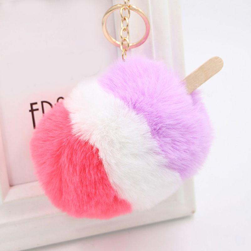 Fluffy Fake Rabbit Fur Ice Cream Car Key Chain Pompom Keyring Keyholder  Pendant Trinket Women Bag Accessories Charm Jewelry Gift Monkey Fist  Keychain ... 80ebcf29b9