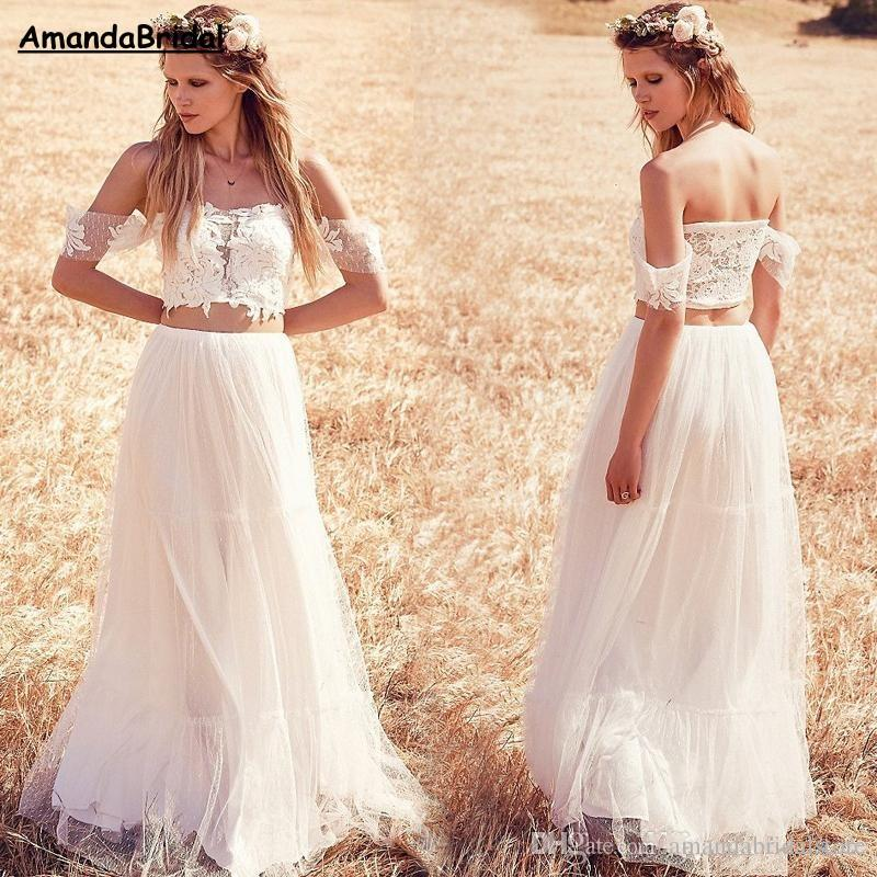Amandabridal Off The Shoulder Boho Wedding Dresses Lace Two Pieces ...
