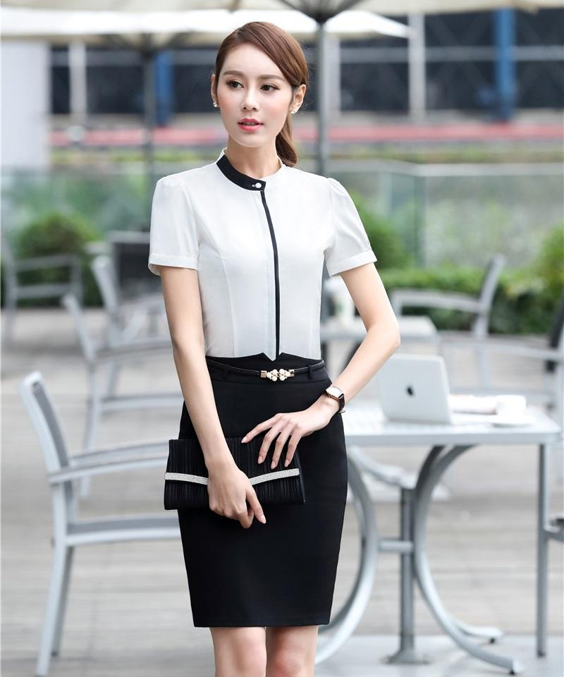 Summer Two Piece Sets Women Business Suits With Skirt And Blouse Sets Office Ladies White Shirts Tops Short Sleeve