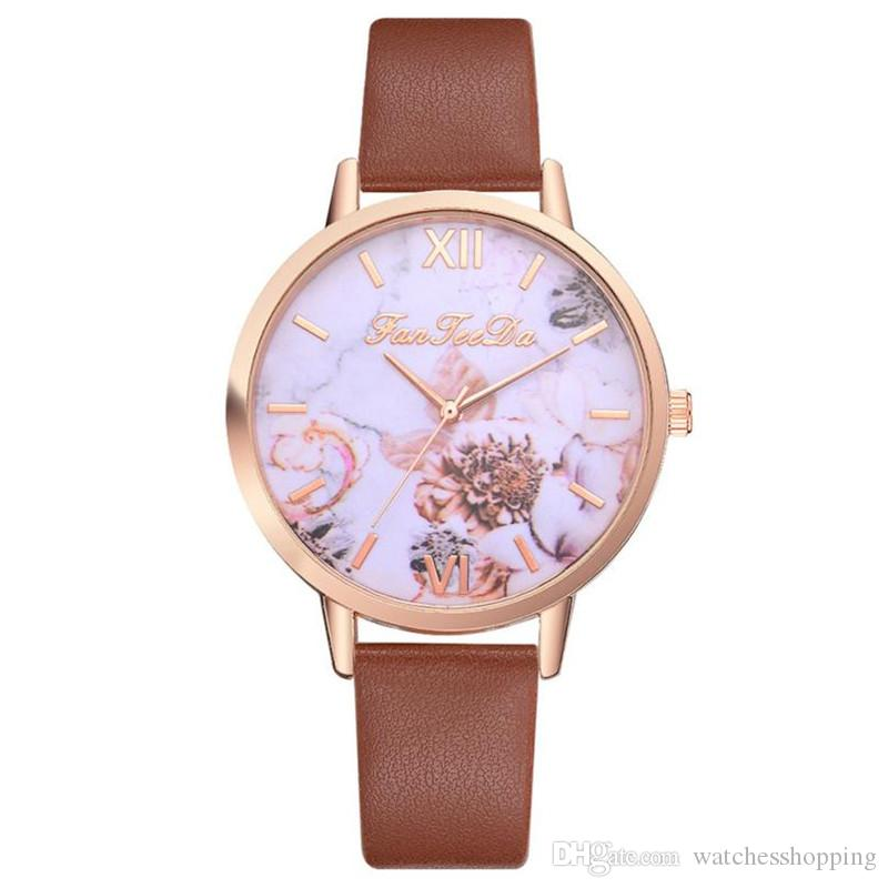 36bb83f3b 2018 New Fashion Women Watches Flower Print Ladies Watches Leather ...