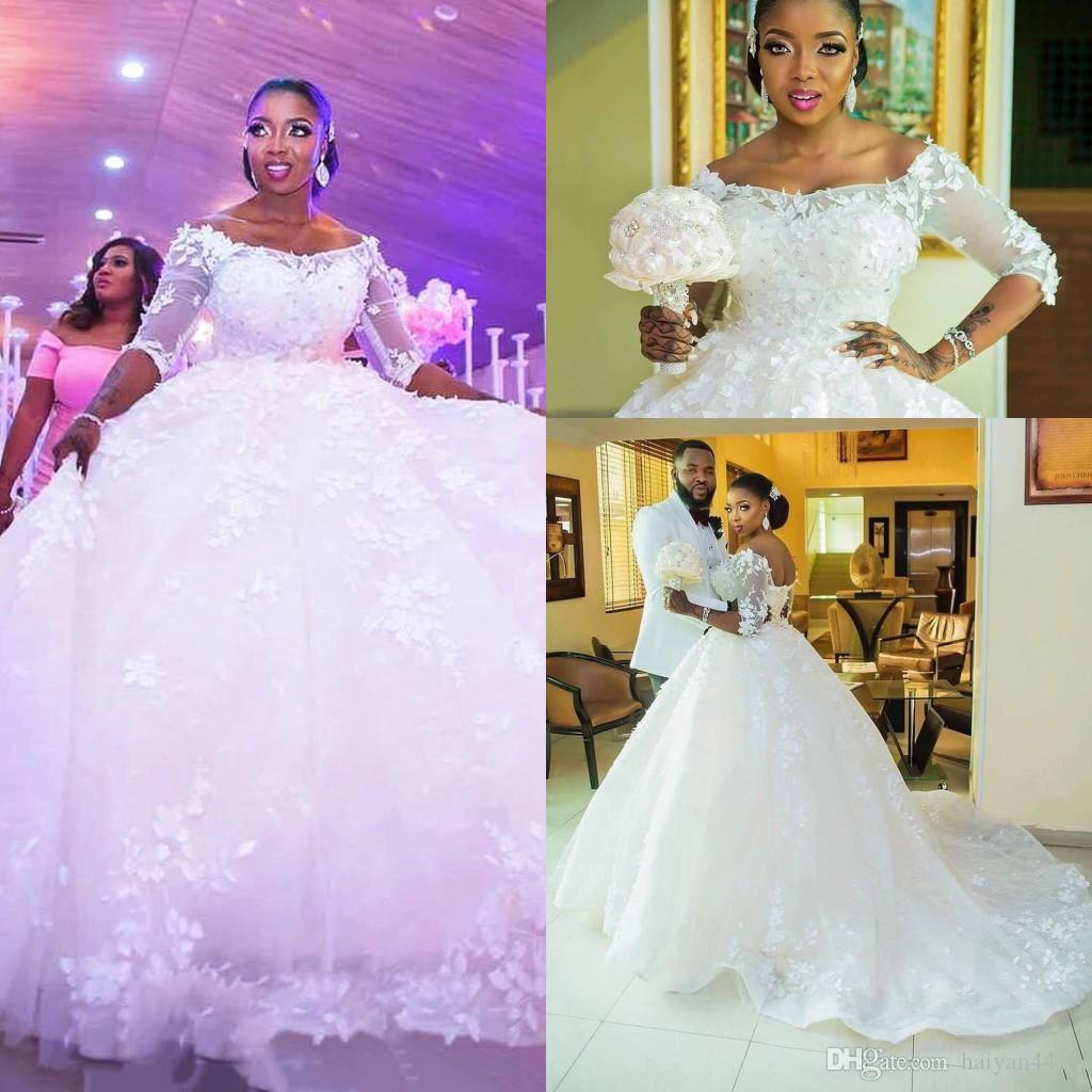 2019 New Puffy Ball Gown Wedding Dresses Off Shoulder Half Sleeves Lace 3D  Floral Flowers Crystal Beaded Plus Size Formal Bridal Gowns Semi Formal  Dresses ... 0141503a8e61