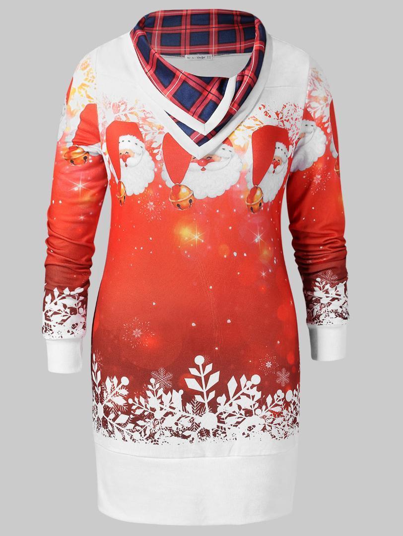 6c7d1157f7e 2019 Wipalo Plus Size Santa Claus Print Graphic Christmas Sweatshirt Autumn  Winter Women Tunic Pullover Hoodie Casual Sweatshirt 5XL From Boniee