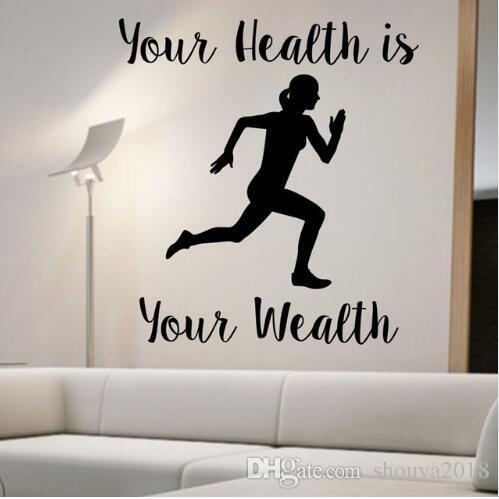 Free Your Health Is Your Wealth Mujer corriendo Pegatinas de pared Decoración para el hogar Calcomanías de pared removibles para deporte Vinilo