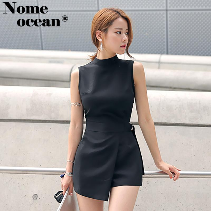0c3814f45 Elegant Belted Waist Playsuits Women's Shorts Strand Collar Wrapped Shorts  of Girls Sexy Rompers Short Jumpsuits Black M18060506