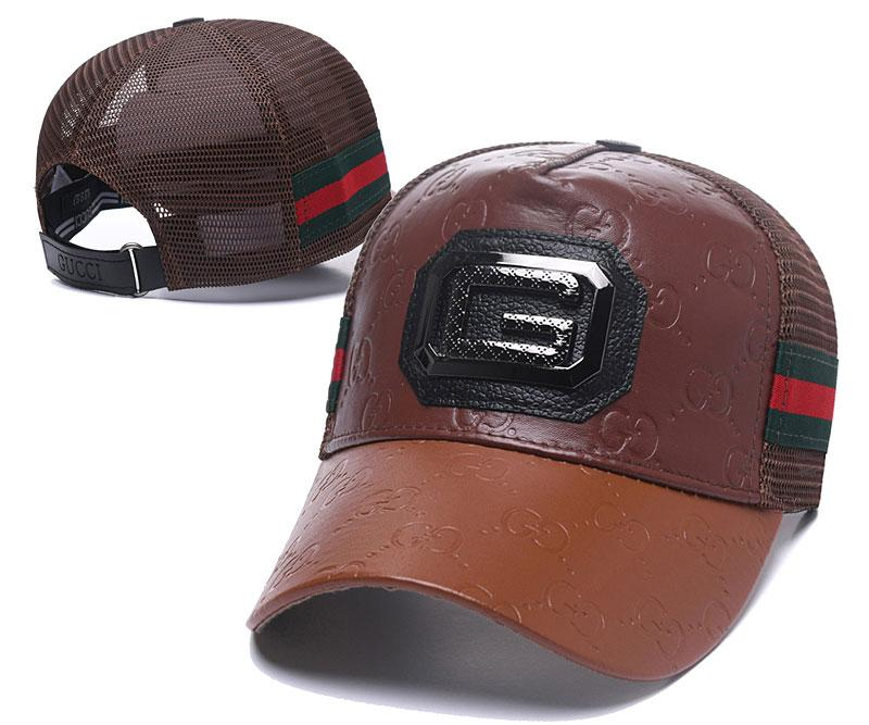 8c61e895241 2019 New Luxury PU Leather Ball Hat Mesh Back Sun Visors Caps Adjustable  Golf Cap Classic Red Green Baseball Cap Top Quality Curved Brim Hats From  ...