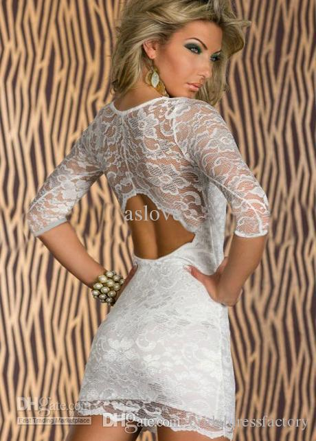 formal dress prom gown 2018 three quarter vestido de festa hot&sexy backless short mini lace Cocktail party Dress