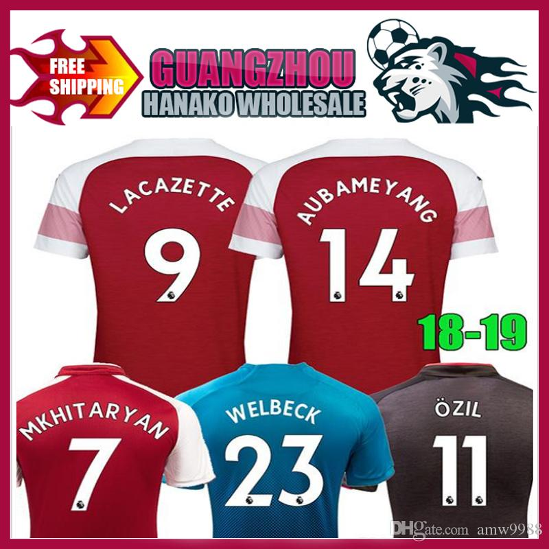 2018 2019 Arsenal Top Quality Soccer Jersey 18 19 LACAZETTE MKHITARYAN  AUBAMEYANG OZIL Home Short Sleeve T-shirt Movement Football Online with   18.94 Piece ... a7fa171f4
