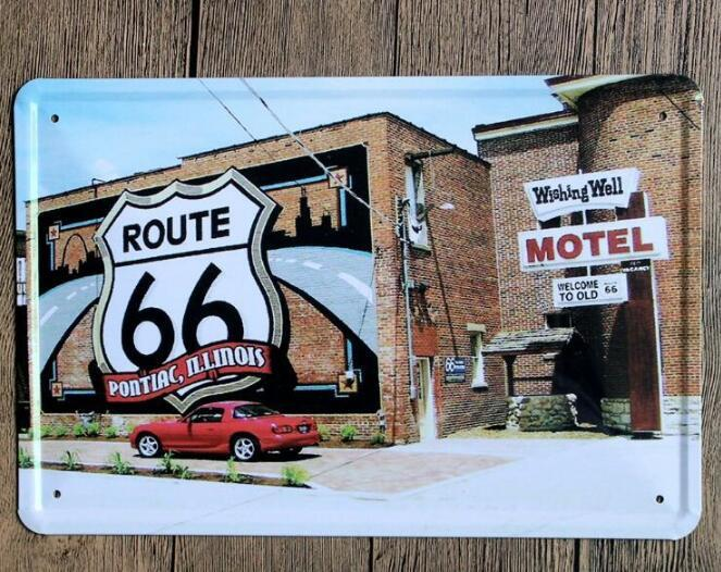 Vintage Car Tin Signs Wall Art Retro Route 66 Tin Sign Old Wall Metal Painting Art Bar Pub Coffee Restaurant Home Decoration