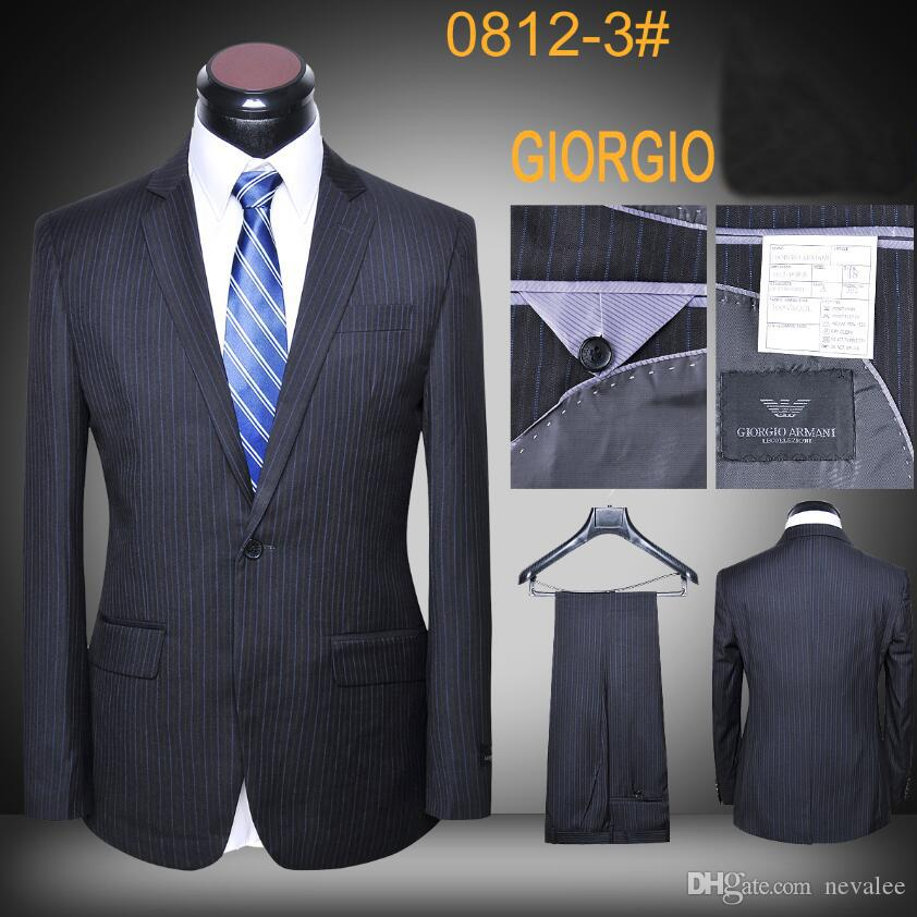 2dc9f76aeb2 2019 Suit Jacket Luxury Wool Striped Designer Latest Coat And Pants Office  Suits Brand Men Slim Fit Business Blazers From Nevalee