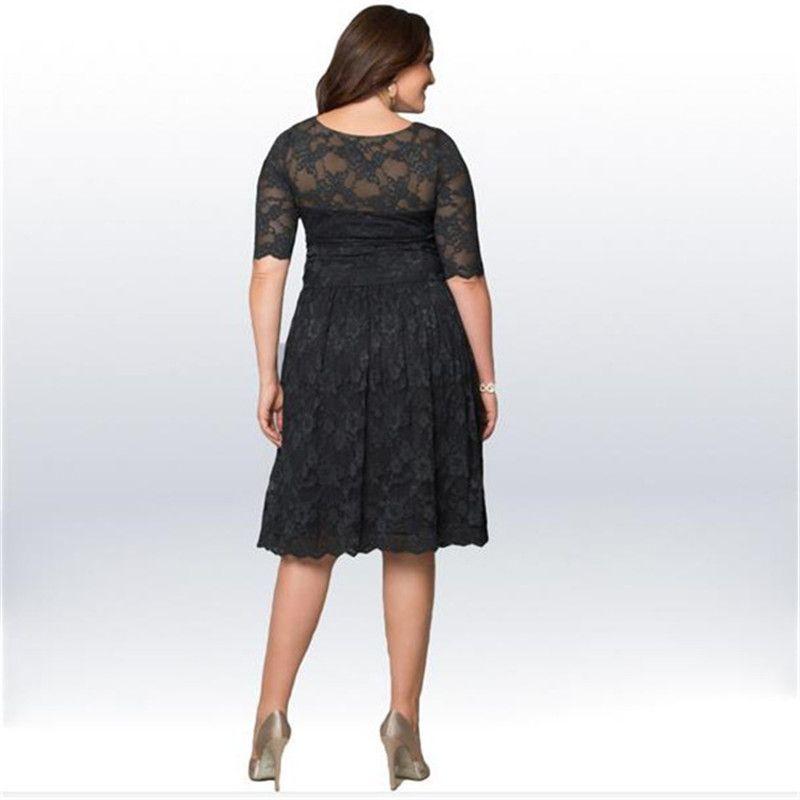 Wholesale Freies Verschiffen 3XL Big Size Sommer Frauen Spitze Kurzarm Casual Dress Für Fett Frauen Kleidung