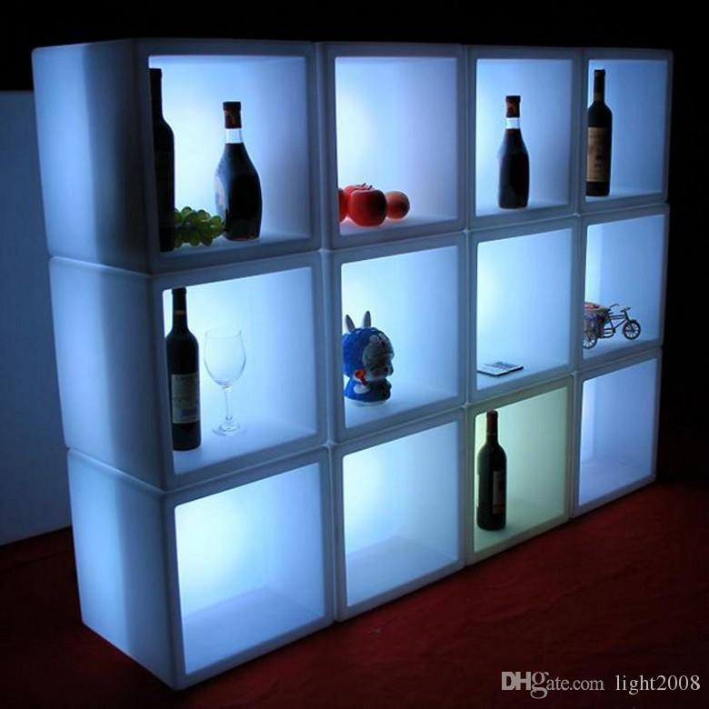 Acrylic 400x400x400mm RGB led ice wine boxes led cabinet light with remote and charger led wine cupboards for put bottle others