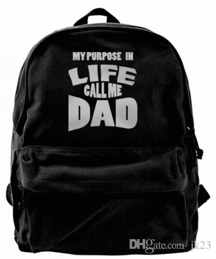 My purpose in life call me Dad Canvas Shoulder Backpack Cute Backpack For Men & Women Teens College Travel Daypack Design handbag Black