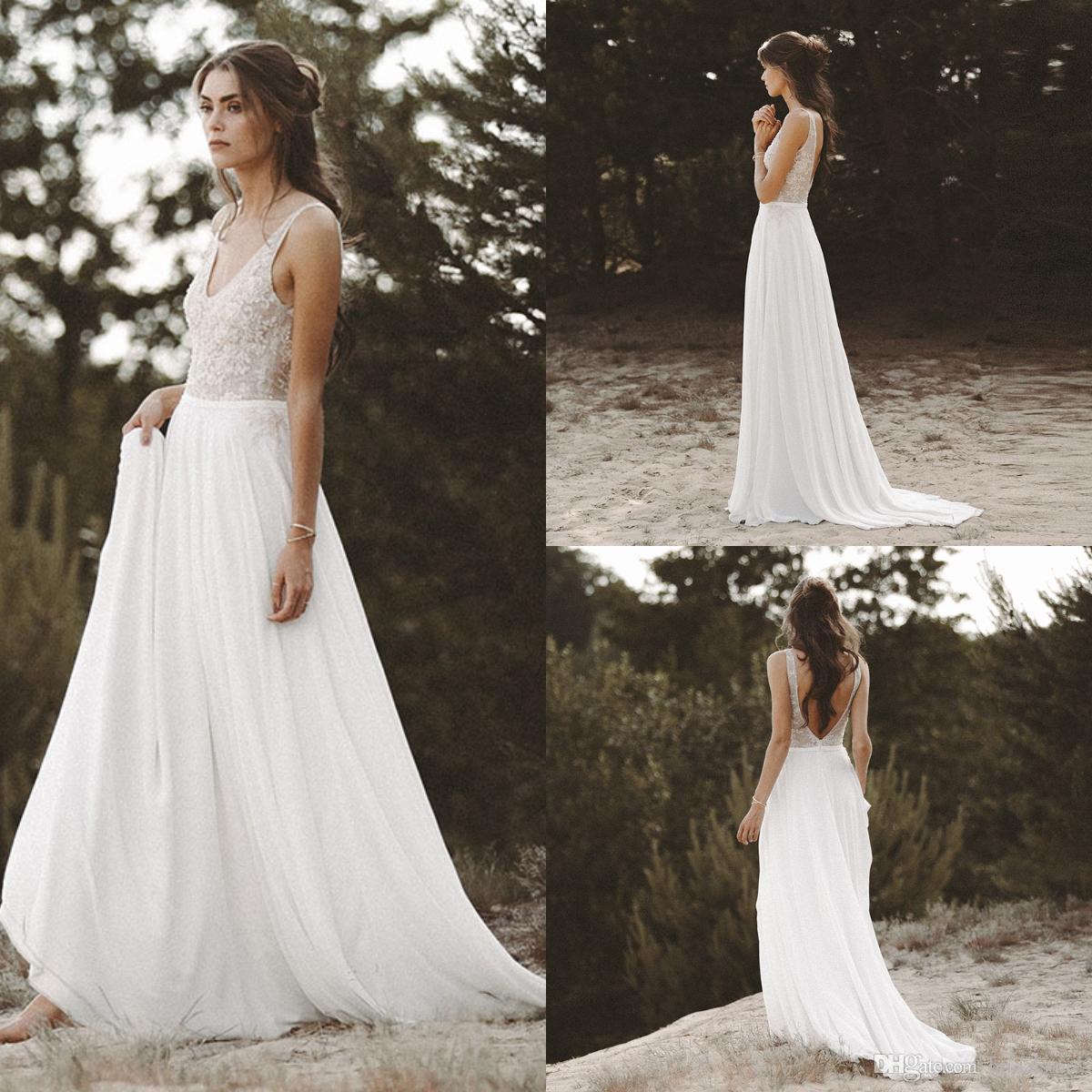 c3ead53a1fb3 Encaje Barato Blanco Boho Vestidos de Novia Para Playa Jardín Cucharada  Gasa Bohemio País Vestidos de Novia Para Mujeres Sexy de espalda baja robe  de ...