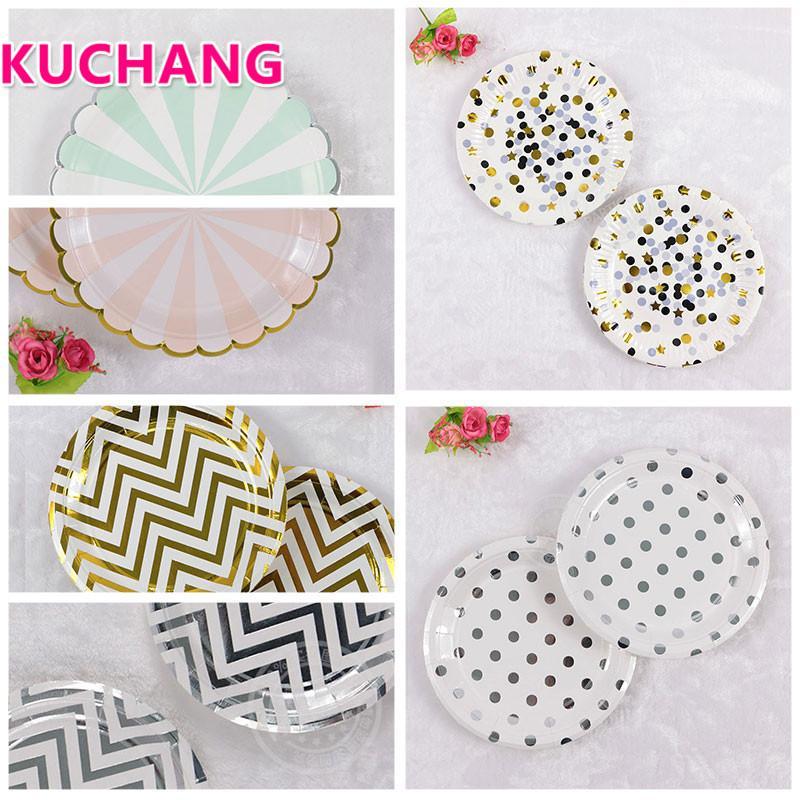 2018 Kuchang Gilding High End Disposable Tableware Set Striped Dot ...