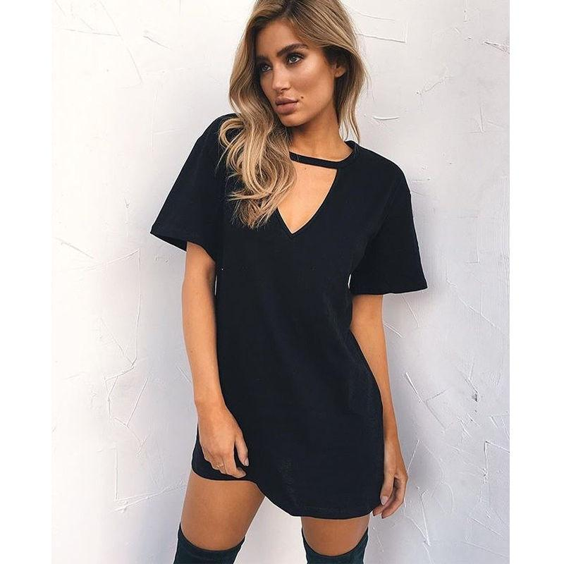 0ce8a8acee Women s Sexy Summer Clothes Loose Short Sleeve V-Neck Mini Solid Cotton  Dress Cocktail Party Beach Sundress Pullover