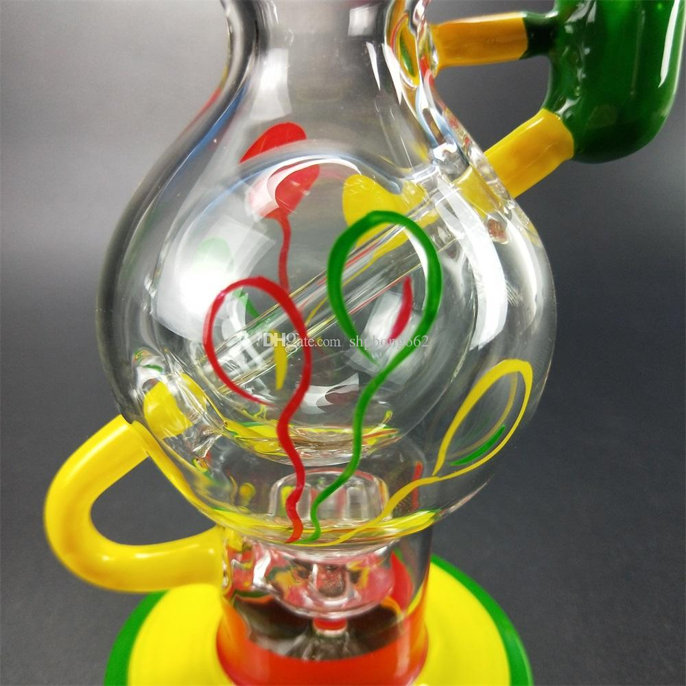 Cold designed colored glass bong dual recovery glass water pipe honeycomb wax oil dab rig filter fashion .