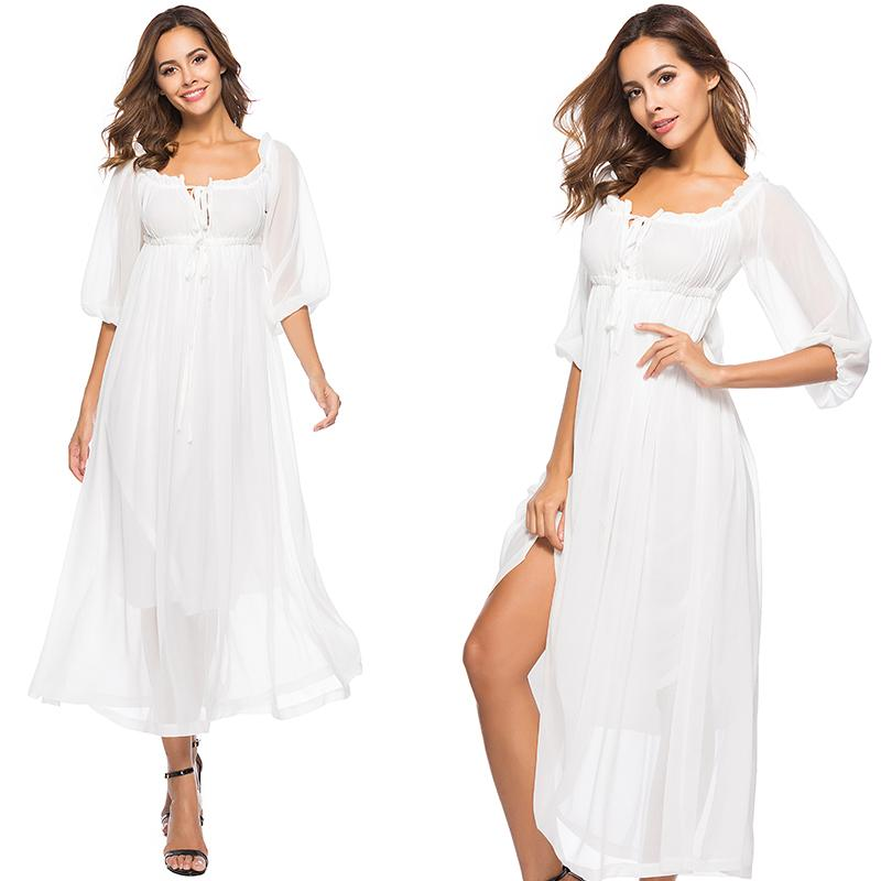 Simple Chiffon White Dress With Boho Off The Shoulder Adjustable