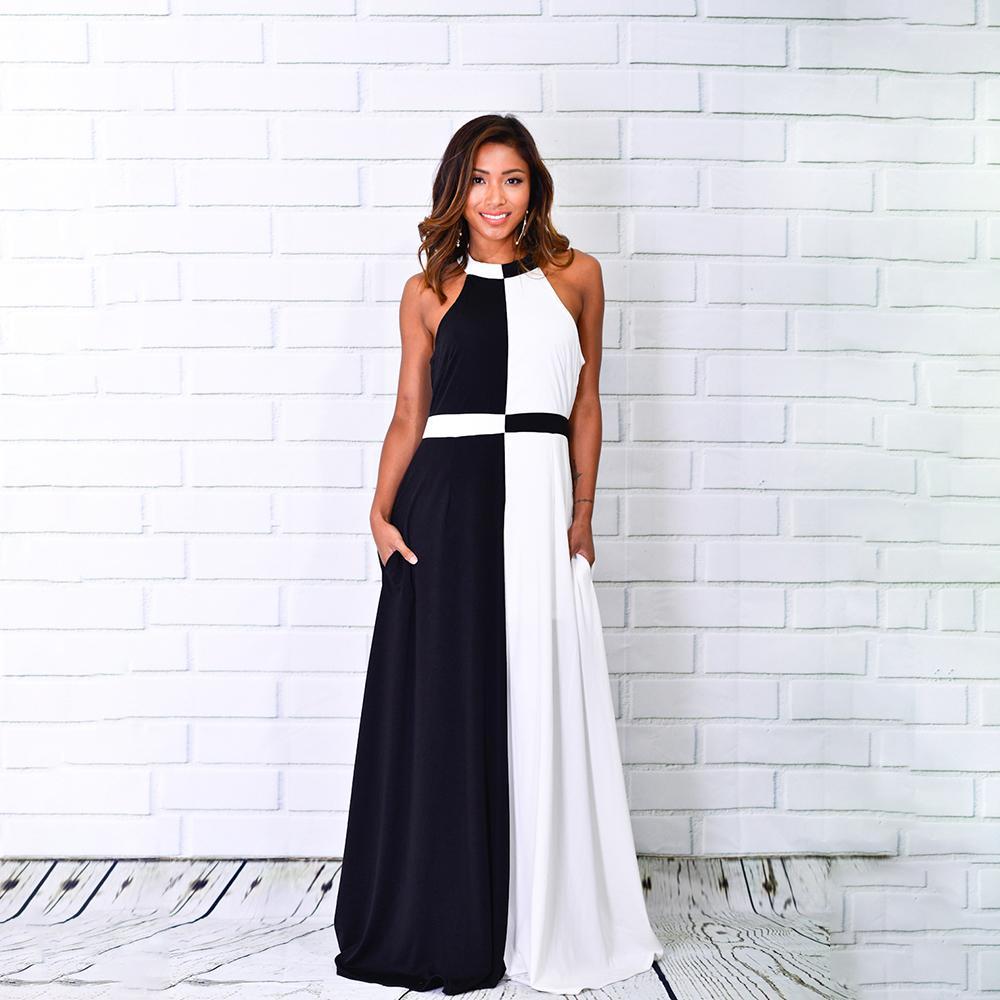 d63e698d6e2854 Großhandel Sommer 2019 Mädchen Langes Kleid Farbblock Sleeveless Party Prom  Club Designer Elegante Maxi Frauen Kleider Mode Vestidos Femme Von Bibei10