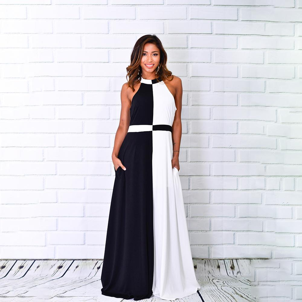 caa1727646f Summer 2018 Girls Long Dress Color Block Sleeveless Party Prom Club  Designer Elegant Maxi Women Dresses Fashion Vestidos Femme Cute Party Dress  Black ...
