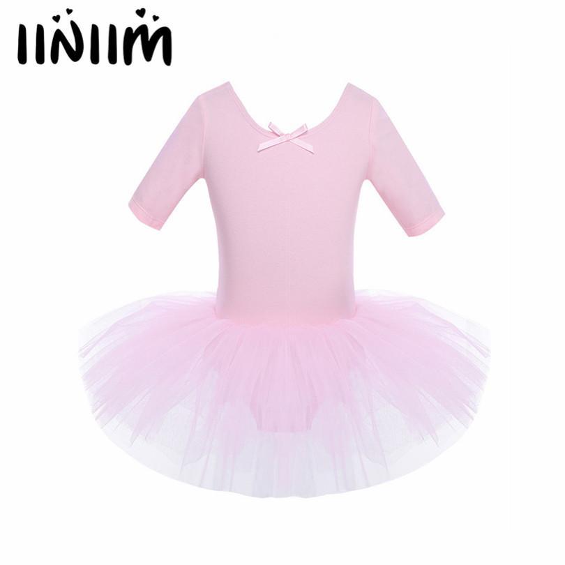 f49f2897f Compre Iiniim Niños Niñas De Manga Corta Algodón Tulle Tutu Ballet Danza  Leotardo Vestido De Rendimiento Girls Ballet Class Dancewear Vestido A   32.05 Del ...