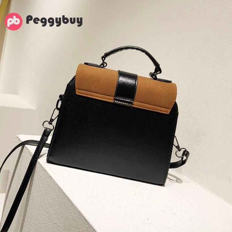 New Casual Crossbody Bag for Women PU Leather Handbag Girl Patchwork Color Purse Clutch Fashion Designer Messenger Shoulder Bag