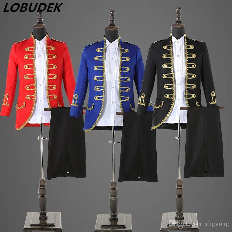 c4398b5333c 2019 2018 European Style Court Dress Men S Suits Black Blue Red White Slim  Blazers Pants Set Wedding Groom Dress Singer Chorus Host Stage Costume From  ...