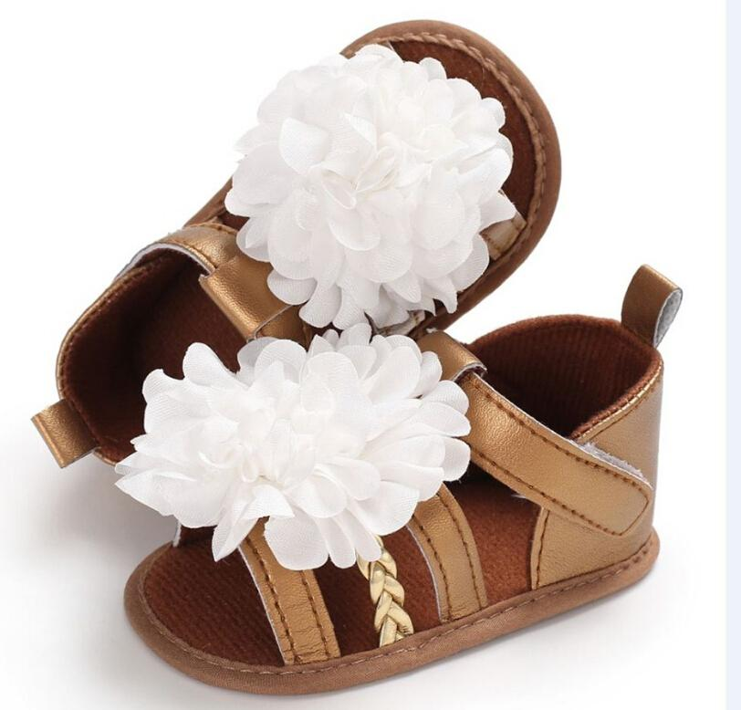 Toddler Baby Girl Sandals Floral Sole Soft Kids Children Princess Sandals Shoes Summer Brown White Pink