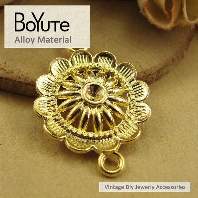 BoYuTe 50 Teile / los 20,5 MM 4 Farben Zink-legierung Sunflower Connector Anhänger Charme für Schmuck Machen Zubehör Diy Handgemacht