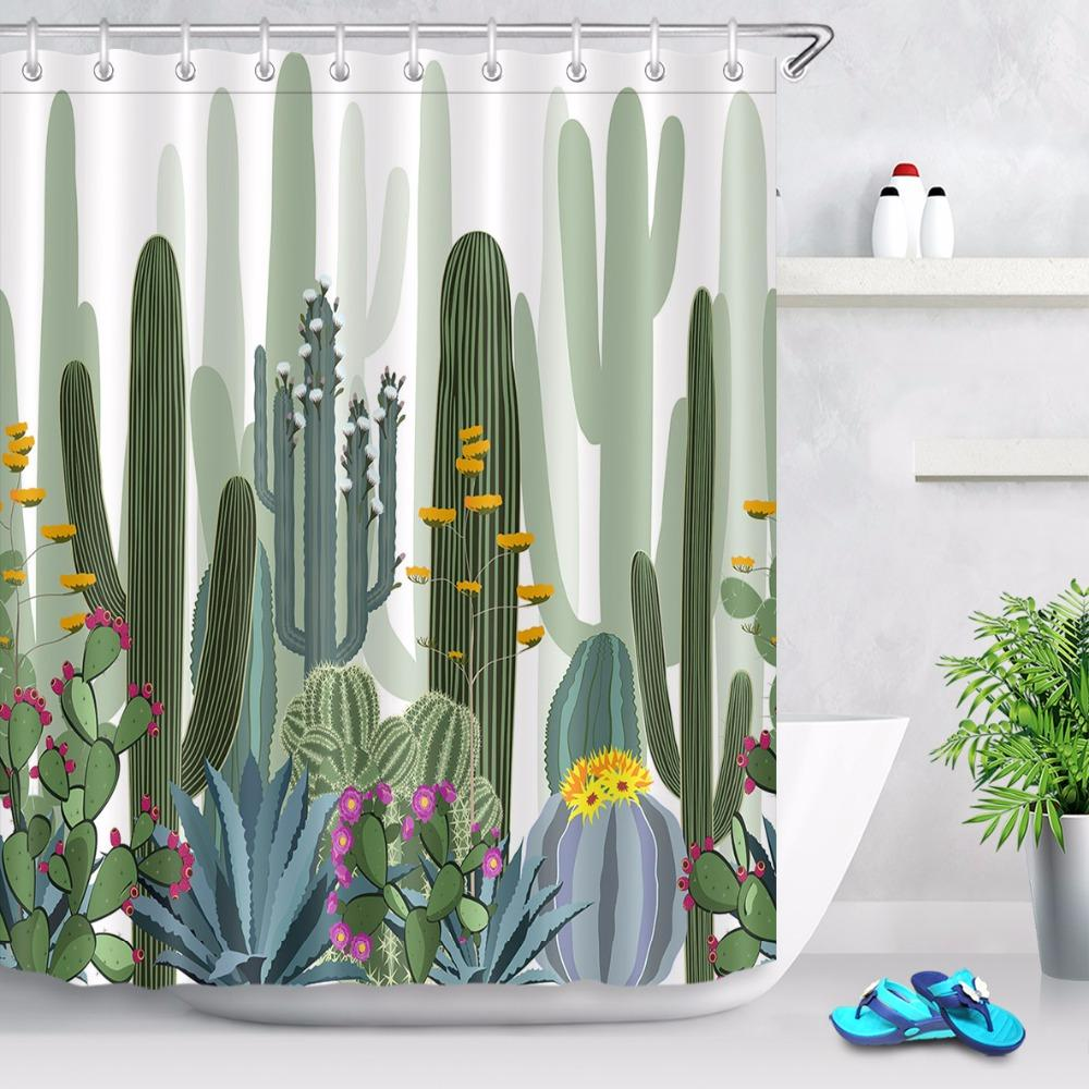 2018 Cactus Agave And Opuntia Plants Bathroom Personalized Shower Curtain Waterproof Polyester 12 Hooks Bath Curtains Set From Waxer