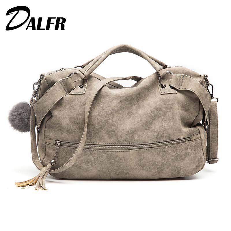 6ec0fb60749 DALFR 2018 Soft Women Leather Handbag Famous Brand Hairball Boston Bag For  Lady Female Large Shoulder Bag High Quality Women Crossbody Purse Cute  Purses ...