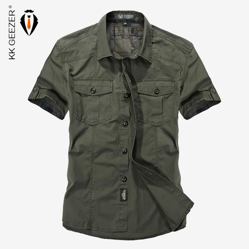 fae285f263e44 Compre 2018 Verano Estilo Militar Hombres Camisas Casuales Primavera De  Alta Calidad De Algodón Camisa Sólida Diseño Clásico Transpirable Marca  Camisas De ...