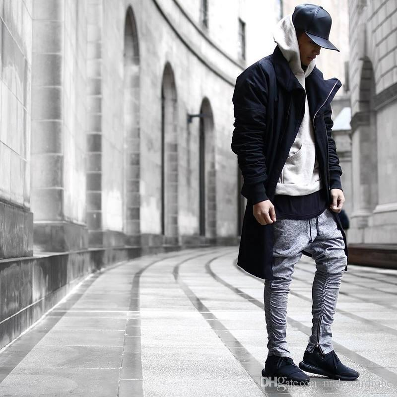 2019 Kanye Grey Side Zipper Casual Pants Mens Fashion Chinos Joggers