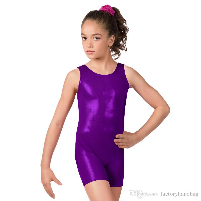 Top Selling Girls Shiny Suit Ballet Dance Wear Sleeveless Bodysuit for Girl Running Tight Jumpsuit Lycra Suit Shiny Metallic Unitard