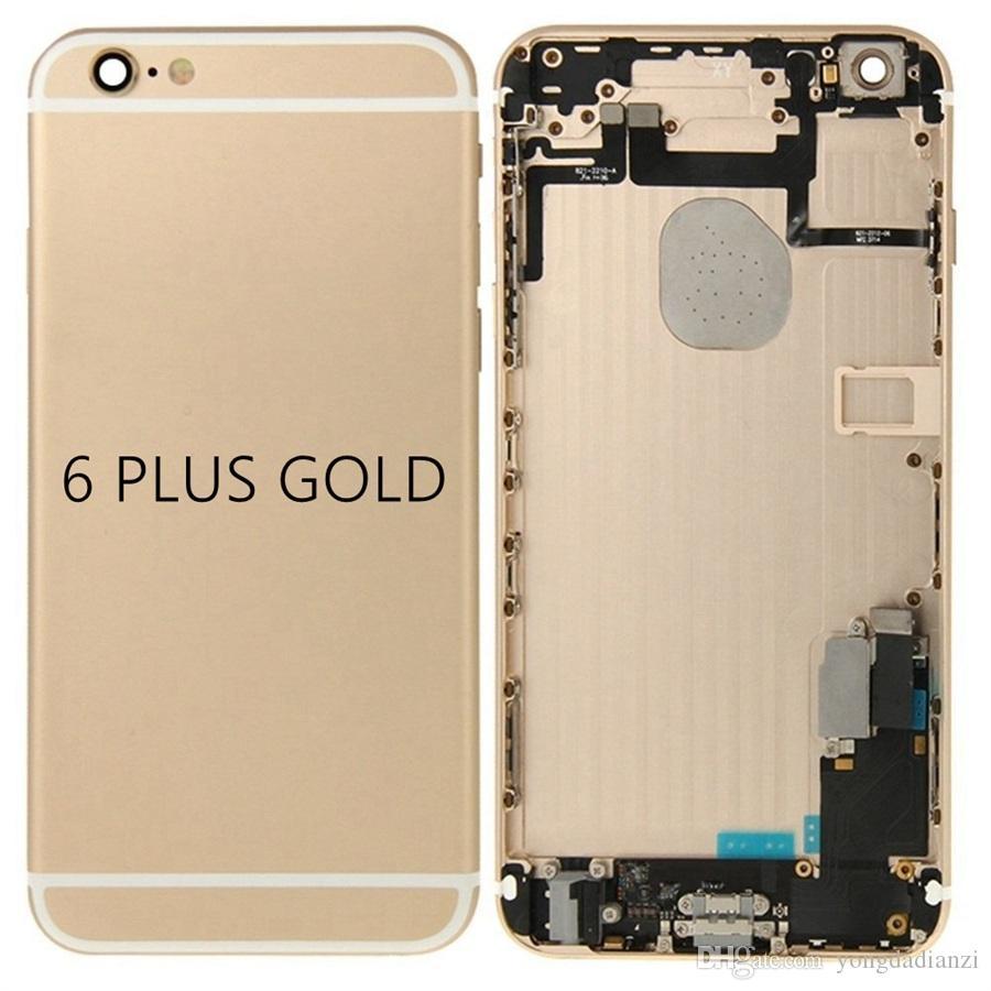 Para a apple iphone 6 plus full voltar habitação tampa da bateria caso da porta traseira chassi com cabo flexível assembléia para iphone 6 plus habitação