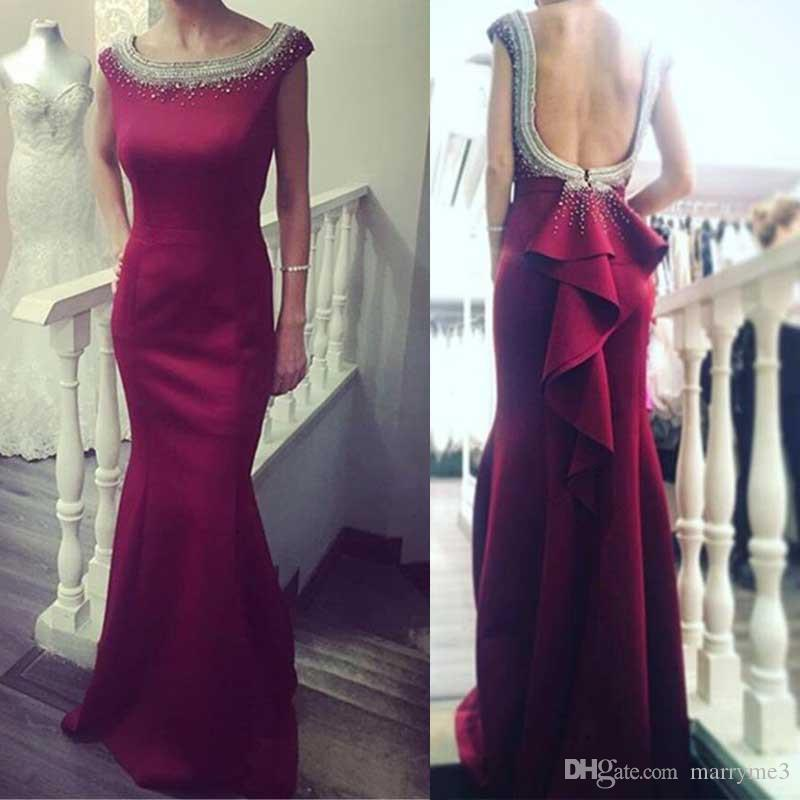 2018 Red Scoop Neck Evening Prom Party Dresses Mermaid Backless With Beaded Ruffles Formal Dresses Custom Made Cheap MP107