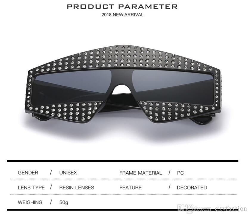 Moda Popular Estilo vanguardista Gafas de gran tamaño Con incrustaciones de perlas Remaches Sin marco y Piernas Calidad superior Protección contra los ojos Gafas con caja