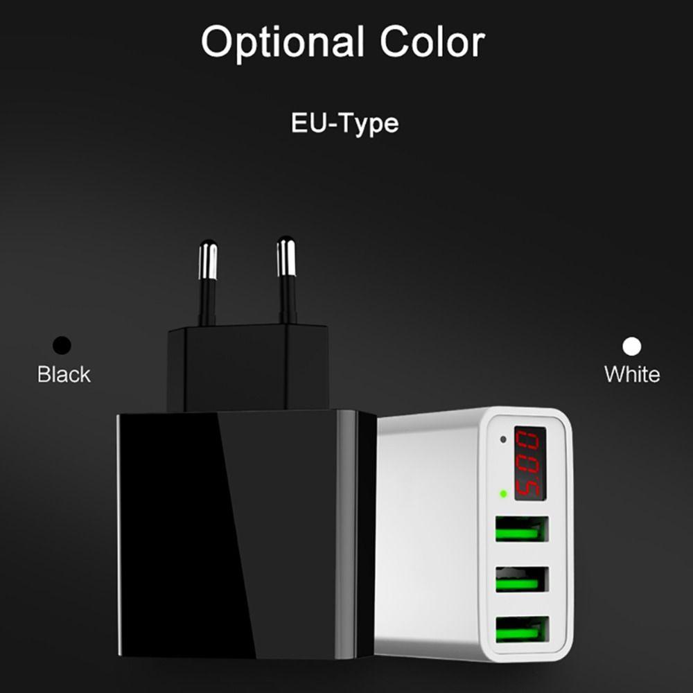 LED 디스플레이와 휴대용 3 USB 포트 전화 벽 충전기 어댑터 아이폰 iPad에 대한 스마트 빠른 충전 EU / US 플러그 삼성 Xiaomi