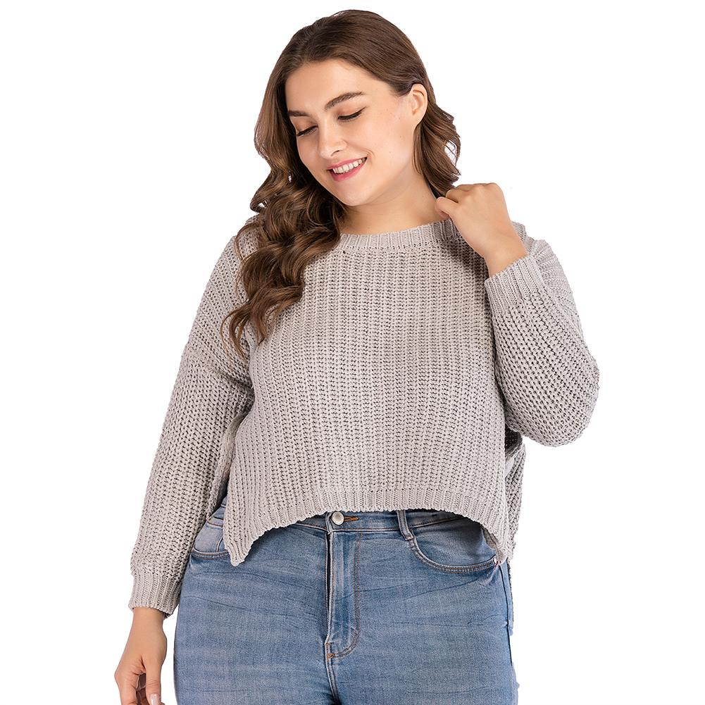 680e92fb0e0 2019 Women Plus Size Cropped Knitted Sweaters Low High Irregular Hem Splits  Crop Top Sweater Long Sleeve Ribbed Loose Casual Tops From Qinfeng07