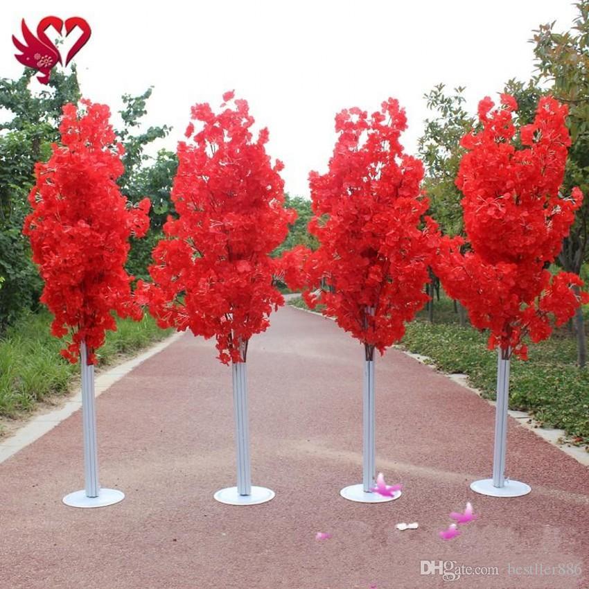 الملونة الاصطناعي الكرز زهر شجرة العمود الروماني يقود الزفاف مول فتح الدعائم الحديد الفن زهرة الأبواب
