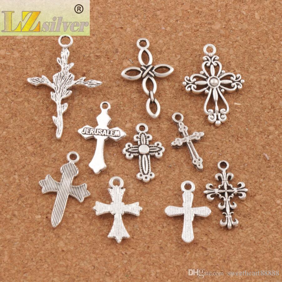 100 unids / lote Lindo Diseño de la Flor Cruz Granos Del Encanto 10 Estilos Mic Colgantes de Plata Tibetana Joyería DIY Componentes LM45