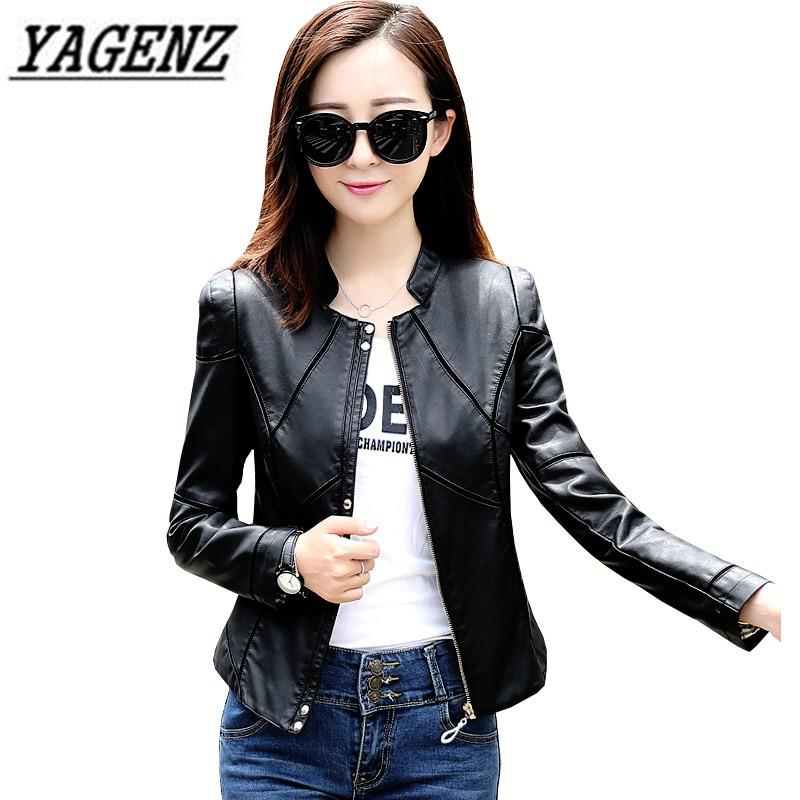 86b1718439bbd 2018 Spring Autumn Women s PU Leather Jacket Coat Plus Size 4XL ...
