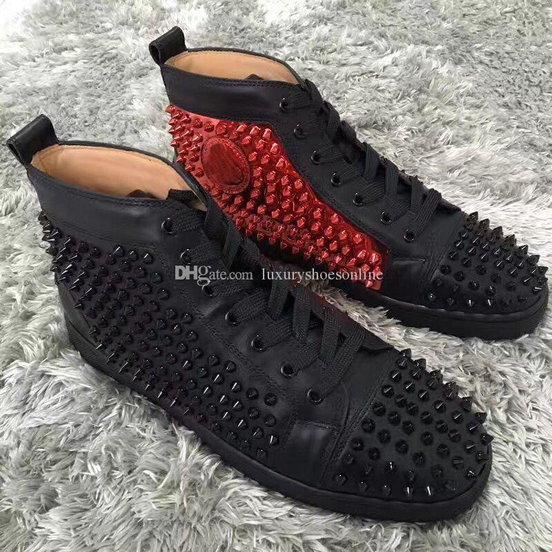 Fashion Genuine Leather Sneakers High Top Spikes Red Bottom Shoes ... ff5c6be1debc