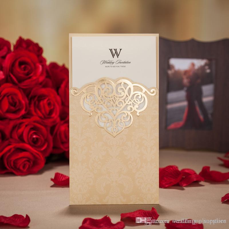 Custom Personalized Printing Wedding Invitations Cards Hollow Flora ...