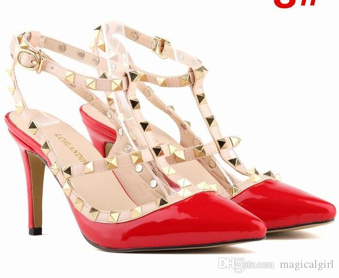 812bb53fcf38 2018 New Women High Heels Party Fashion Rivets Pointed Shoes Dance ...