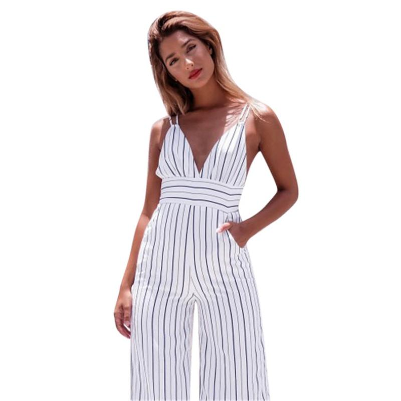6e3b06e1a1c 2019 Retro Striped Jumpsuit Rompers Female Cotton Overalls Deep V Neck  Backless Casual Calf Length Wide Leg Pants Jumpsuits Ladies From Beasy112