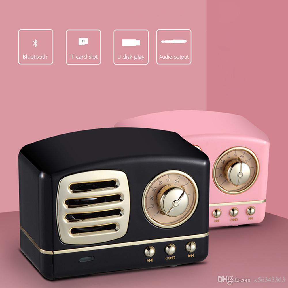 HM11 빈티지 블루투스 무선 스피커 복고풍 무거운 저음 미니 휴대용 스피커 지원 마이크로 SD TF 카드 음악 플레이어