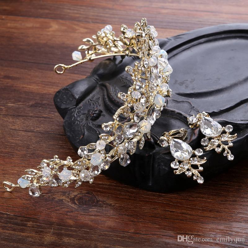 Bridal Crowns Hairbands Flower Bride Crystal Tiara Princess Crown Wedding Tiaras Birthday Party Tiaras with Earring Hair Jewelry Accessories