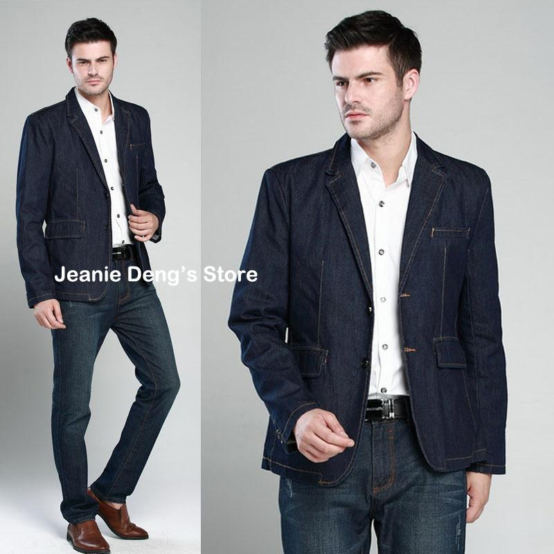 e3d5bce3bf6a Autumn New Style Men's Slim Fitted Blue Denim Jackets , Casual Suit Collar  Outerwear , Man Jean Blazer Formal Blazers For Men