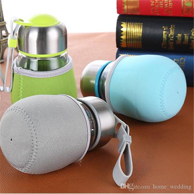 50pcs Creative 400ml Penguin bottle With Tea Infuser & Rope Water Kids High Silica Glass Juice Coffee Bottle