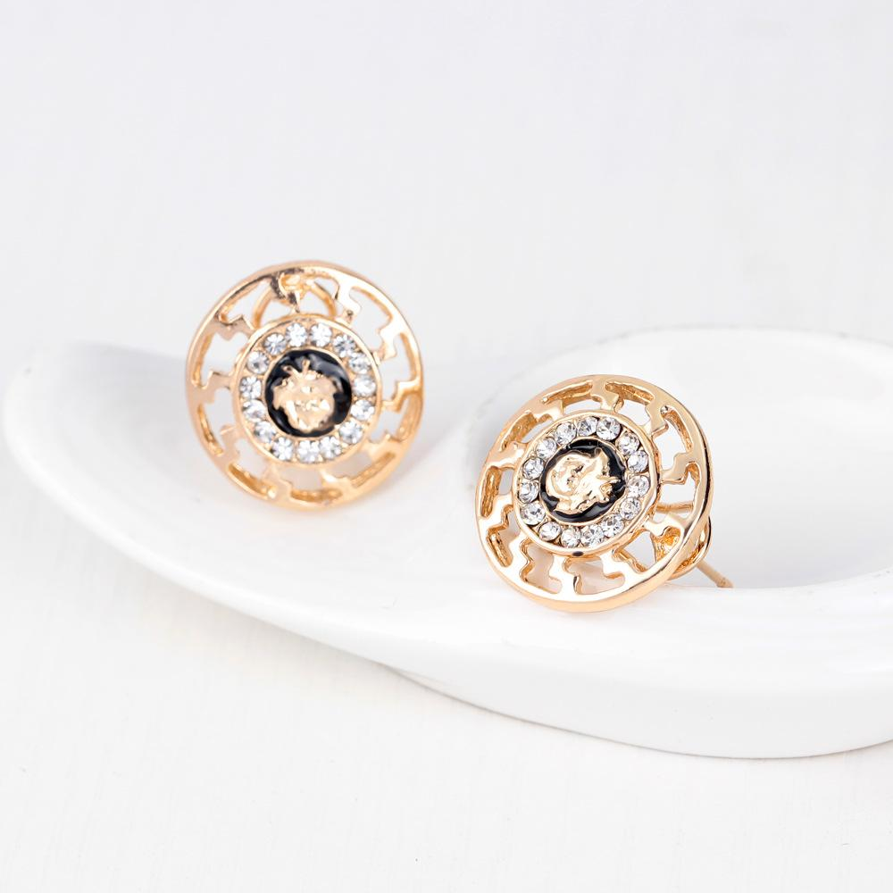 Jewelry set fashion vintage 18k gold plated diamond rhinestone lion head set earring ring bracelet necklace jewelry
